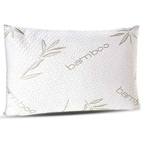 Sleepsia Bamboo Pillow - Premium Pillows for Sleeping - Memory Foam Pillow with Washable Pillow Case - Standard Size Pillows (Standard)