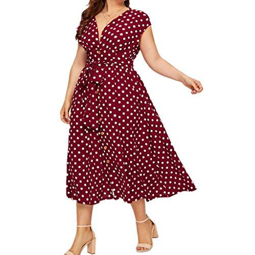 LOPILY Elegantes Abendkleid Große Größen Gepunktes Vintage Retro Kleid 50er Jahre Midikleid French Style Cocktail Kleid für Mollige Hohe Taille Kleid für Hochzeit Gast (Rot, DE-50/CN-5XL)
