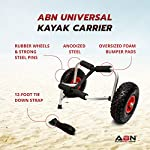 """Abn universal kayak carrier – trolley for carrying kayaks, canoes, paddleboards, float mats, and jon boats 12 practical: use the abn universal boat carrier to cart your kayak, canoe, paddleboard, float mat, or jon boat durable: has a 200-pound weight limit; constructed from high-strength anodized steel to ensure longevity while also keeping the carrying weight at a minimum (8lbs) tire design: 9. 5"""" knobby tires that are easy to inflate; allows for smooth movement across rough surfaces such as sand, gravel, and through wooded areas"""