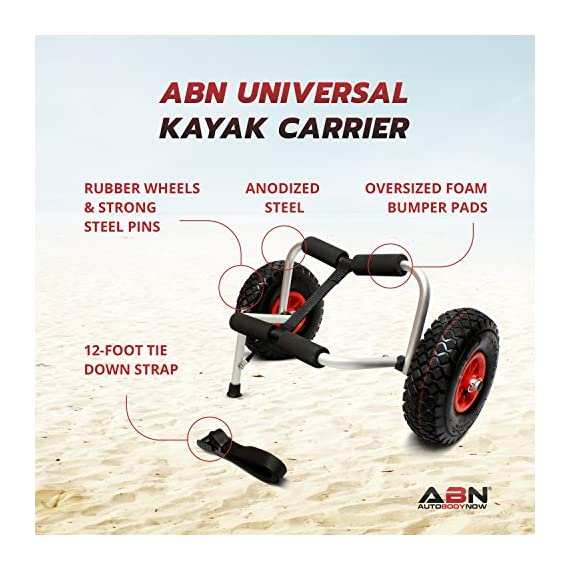 """Abn universal kayak carrier – trolley for carrying kayaks, canoes, paddleboards, float mats, and jon boats 4 practical: use the abn universal boat carrier to cart your kayak, canoe, paddleboard, float mat, or jon boat durable: has a 200-pound weight limit; constructed from high-strength anodized steel to ensure longevity while also keeping the carrying weight at a minimum (8lbs) tire design: 9. 5"""" knobby tires that are easy to inflate; allows for smooth movement across rough surfaces such as sand, gravel, and through wooded areas"""