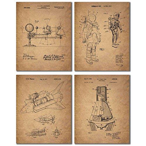 Space Patent Prints - Set of 4 Vintage Wall Art Photos (Kitc...