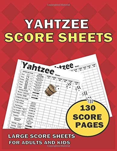 Yahtzee score Sheets: Large size 8.5 x 11 inches 130 Pages | Yahtzee Score Cards for adults, kids| YAHTZEE SCORE SHEETS | Dice Board Game | Yahtzee score book