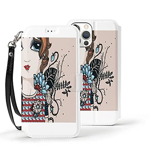 Funda para iPhone 12,Funda Tipo Cartera para iPhone 12 con Tarjetero,Una Chica Joven con Flores de fantasía,Funda Protectora Interior de TPU a Prueba de Golpes para iPhone 12 de 6.1 Pulgadas