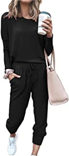 Women's Solid Two Piece Outfit Long Sleeve Crewneck Pullover Tops And Long Pants Sweatsuits Tracksuits