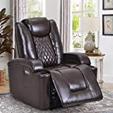 Power Electric Recliner Chair with USB Charge Port and Cup Holder - Recliner Sofa Overstuffed Electric PU Recliner Chair Home Theater Seating Bedroom & Living Room Chair