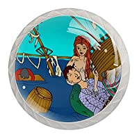 引き出しノブプルハンドル4個 クリスタルガラスのキャビネットの引き出しは食器棚のノブを引っ張る,ムーンダスターによる人魚の難破