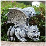 lefeindgdi Gárgola estatua decoración al aire libre, gótico medieval, dragón gris alado, mítico monstruo animal adorno