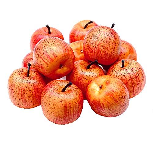 TGG 12 x Deko Äpfel groß Ø5,5cm, gelb/rot matt künstlich, Früchte, Apfel !!!