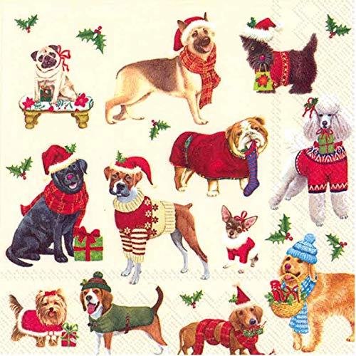 Weihnachtsservietten, lustige Cocktail-Servietten, Geschenke für Hundeliebhaber, 12,7 x 12,7 cm, 40 Stück