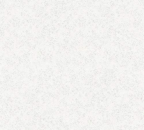 awallo Papiertapete in feiner Rauhfaser Optik Ökotapete Unitapete 25,00 m x 0,53 m weiß überstreichbar Made in Germany 354021 35402-1