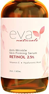 Eva Naturals Anti-Aging Retinol Serum For Face - Pro 2.5% Retinol Formula Packed With Hyaluronic Acid, Vitamin E & Aloe Ve...