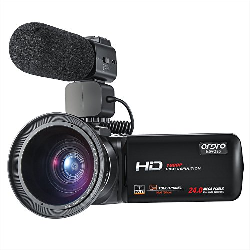 ORDRO Camcorder 1080P 30FPS Full HD Video Camera with Wifi External Microphone and Wide Angle Lens