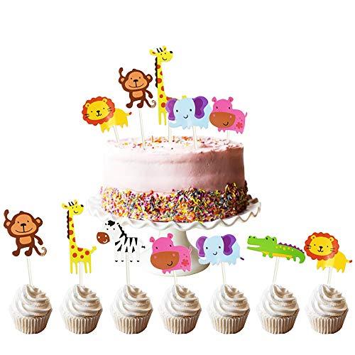 FOGAWA 35 pcs Kuchen Deko Cupcake Topper Muffin Kuchendeckel Topper Tier Cake Topper Cute Kuchen Dekorationen für Kinder Geburtztag Party Baby Shower Löwe Nilpferd AFFE Elefant Zebra Giraffe Krokodil