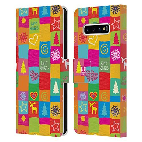 Head Case Designs Edredón Navidad del Hippie Carcasa de Cuero Tipo Libro Compatible con Samsung Galaxy S10+ / S10 Plus
