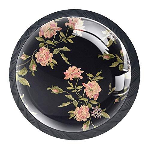 Pink Peonies 4 runde Griffe für Küchenschranktüren, Schränke, Schubladen, Möbelgriffe
