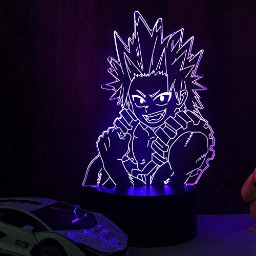 GEZHF My Hero Academia LED 3D para niños Anime Glow Lights lámpara Boku No Hero Academia Kirishima Eijiro Lampara para el hogar Regalo de cumpleaños 7 colores Illusion Touch para el hogar
