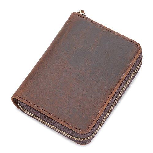 Kattee Unisex Vintage Look Genuine Leather Zipper Wallet Credit Card Holder Purse Photo #5