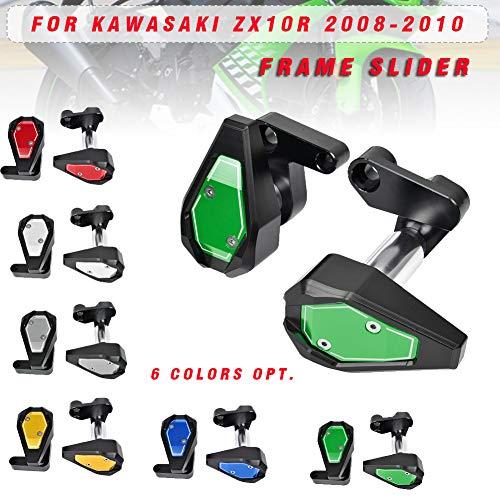 LoraBaber Slider per telaio moto Coprimaterassi Protezione anticaduta per Kawasaki 08 09 10 ZX10R ZX 10R ZX 10R 2008 2009 2010 (verde)