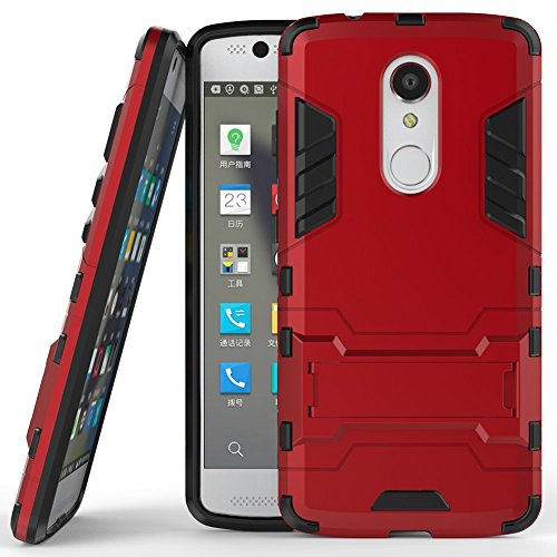 Case for ZTE Axon 7 Mini (5.2 inch) 2 in 1 Shockproof with Kickstand Feature Hybrid Dual Layer Armor Defender Protective Cover (Red)
