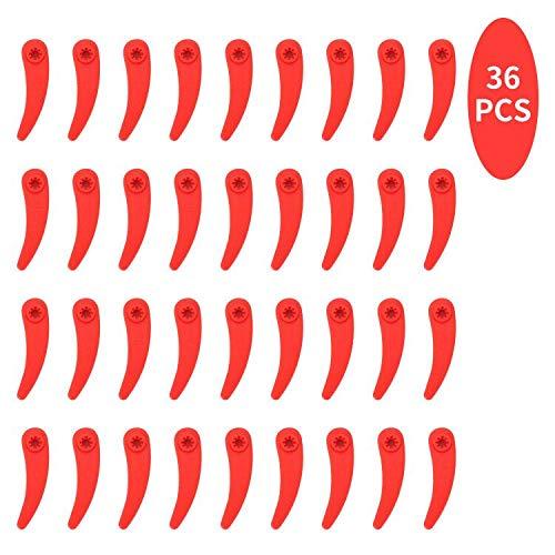 Herefun 36 Stück Ersatzmesser Plastik Kunststoff Messer Rasenmäherklinge Kunststoff Gras Kunststoffmesser für Akku-Rasentrimmer Art 23-18Li Art 26-18Li (Rot)