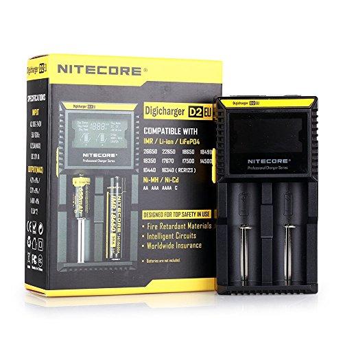 NiteCore D2 EU Intellicharger Intelligent Smart Universal LCD Anzeigen Doppel Dual Battery Charger Batterie Ladegerät Schwarz für 18650 18350 26650 AAA AA CR123A