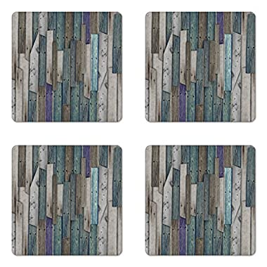 Ambesonne Wooden Coaster Set of Four, Blue Grey Grunge Rustic Planks Barn House Wood and Nails Lodge Hardwood Graphic Print, Square Hardboard Gloss Coasters for Drinks, Gray Blue