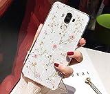 Uposao Custodia Compatibile con Huawei Mate 9 Cover in Silicone Lucido Glitter Bling Secchi Fiori in Silicone TPU Case Protettiva Trasparente in Cristallo Shell,Rosa