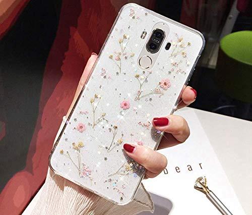 Herbests Kompatibel mit Huawei Mate 9 Hülle Getrocknete Blumen Glänzend Bling Glitzer Handyhülle Transparent Silikon Weich Ultra Dünn TPU Schutzhülle Crystal Case Stoßfest Tasche,Rosa