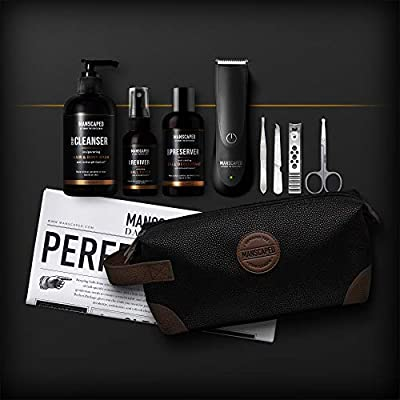 Manscaped Perfect Package 2.0 Kit Contains: Electric Trimmer, Ball Deodorant, Body Wash, Performance Spray-on-body Toner, Five Piece Nail Kit, Luxury Bag, Shaving Mats