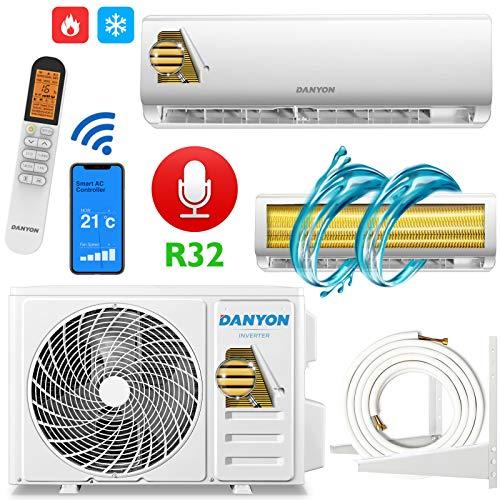 DANYON Split Klimaanlage Klimagerät Inverter 12000 BTU Klima 3,4 kW Kältemittel R32 WiFi/WLAN App LED-Display Selbstreinigend Titangold Komplett-Set 5m Kupferleitungen Wandhalter
