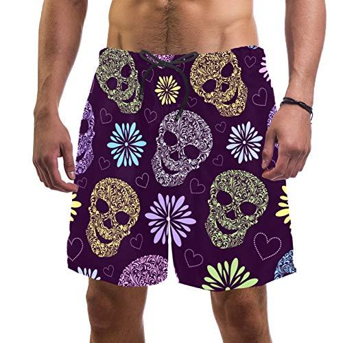 Pantalones cortos de playa para hombre, de secado rápido, con bolsillo y calaveras, color morado