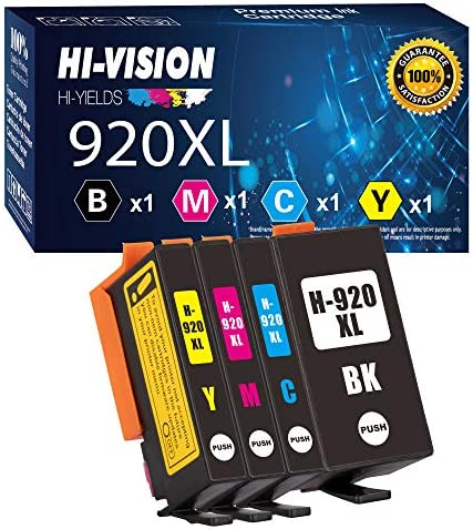 4 Pack HI Vision Compatible HP 920XL 920 XL Ink Cartridge Replacement for HP OfficeJet 6000 product image