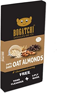 BOGATCHI Healthy Oats 70% Dark Chocolate Bar with Roasted Almonds, Low Carbs, Keto Chocolate, 80g