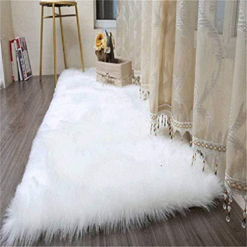 KAIHONG Faux Lammfell Schaffell Teppich (180 x 80 cm) Lammfellimitat Teppich Longhair Fell Optik Nachahmung Wolle Bettvorleger Sofa Matte (Rechteckig Weiß)