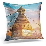 Fundas De Almohada De Tiro Blue Swayambhunath El Templo Budista Y El Centro De La Aldea En Las Afueras De Katmandú En Nepal Monkey White 45X45Cm Tienda De Libros Sofá Estándar De