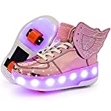 Roller Shoes LED 7 Colors Light Up Glowing High Top Skate Sneakers Wheels USB Recharging Remote Control Flashing Boys Girls