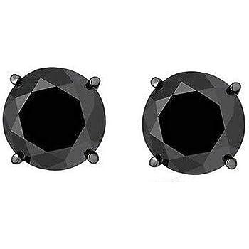 black diamond 1.0 carat round unisex stud earrings 925 screwback men gunmetal