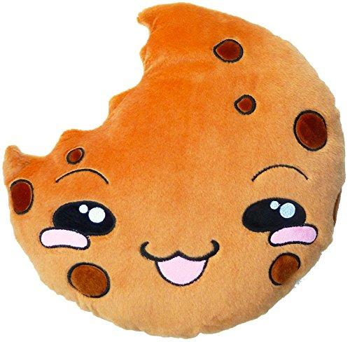 moodrush® Cookie Smiley Kissen/Plüsch Keks | alle Elemente aufgestickt (Nicht Bedruckt!) | waschbar | ca. 35x35 cm
