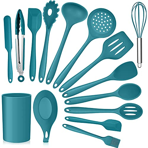 Teal Blue Kitchen Utensils Set, E-far 15-Piece Silicone Cooking Utensils with Holder, Non-stick Cookware Friendly & Heat Resistant, Includes Ladle Spatula Spoon Slotted Turner for Cooking & Baking