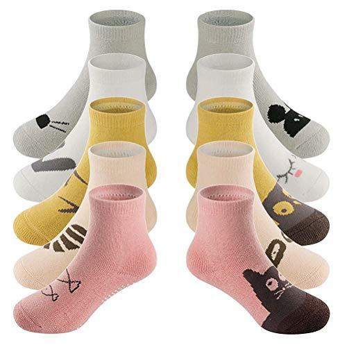LifeWheel - Calcetines antideslizantes de rizo cálido de invierno para bebé unisex de 0–3años (5pares) multicolor multicolor M