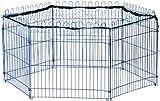 dobar 80599 6-eckiges Freilaufgehege, Kaninchengehege aus Metall mit Nylon Netz für draußen winterfest, 123 x 106 x 60 cm, blau