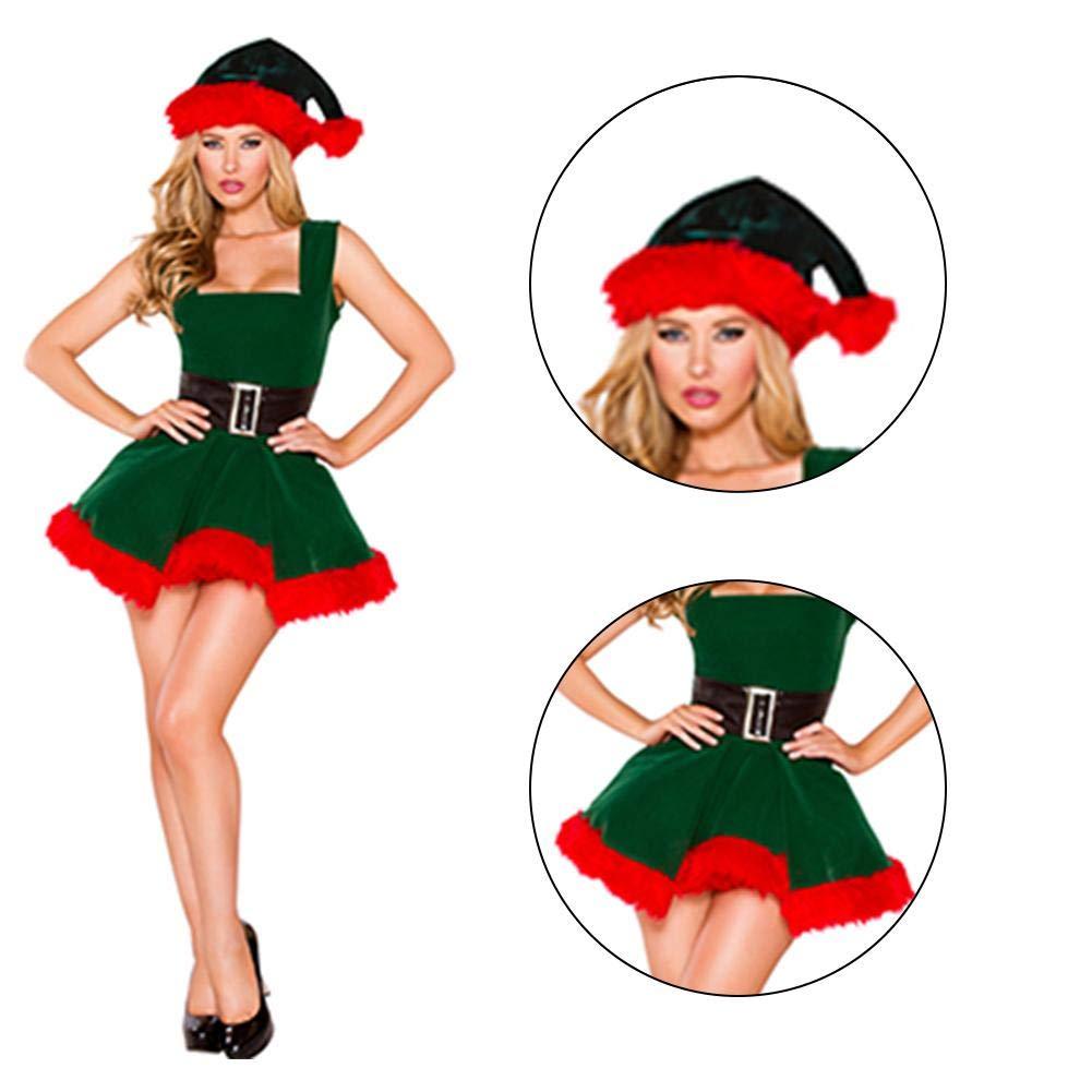 Disfraces de Elfo Verde Deluxe de Santa Claus Mujeres adultas ...