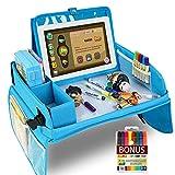 MUHOO Knietablett Reisetisch Auto Kinder, Einstellbar Tragbar Reisetisch Auto Kindersitz, Multifunktional Lernspielzeug für Autositz mit 1 Laptoptasche und 8 Farbstifte, Blau