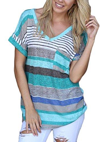 CRAVOG Damen Sommer Streifen Blusen Tops V-Ausschnitt T-Shirt Hemd (XL/EU 42, Blau)