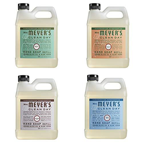 Mrs. Meyers Clean Day Liquid Hand Soap Refill, 1 Pack Basil, 1 Pack Geranium, 1 Pack Lavender, 1 Pack Rain Water, 33 OZ each