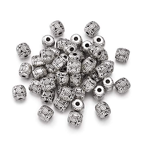 Craftdady 50Pcs Antique Silver Carved Barrel Spacer Beads 6x6mm Tibetan Metal Drum Loose Beads for Jewelry Making Hole: 1.5mm