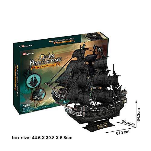 Tachan- Ana Puzzle 3D Pirate Ship Queen Anne Revenger, 308 Pieces (Cubic Fun T4018H)