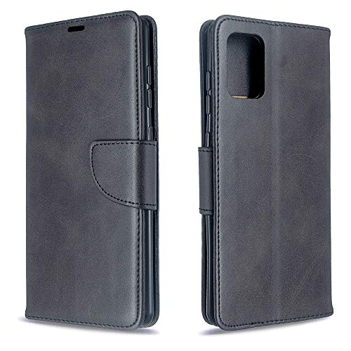 Runbiu Kompatibel mit Samsung Galaxy A71 Hülle, Premium PU-Leder Book Style Handyhülle TPU Bumper Flip Wallet Brieftasche Handyhülle Schutzhülle, Schwarz