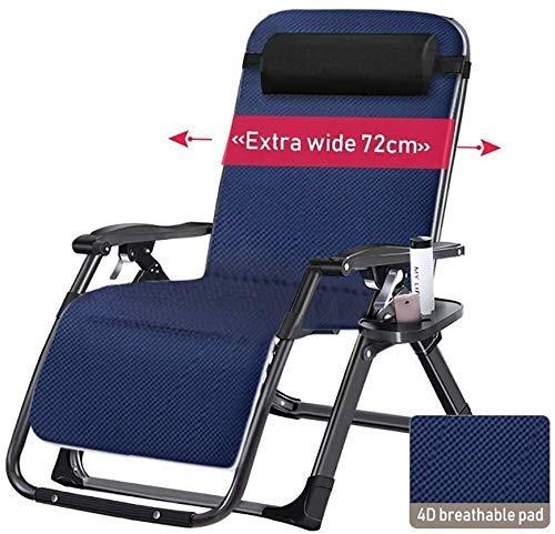 unknow Sun Lounger Oversize Zero Gravity Locking Patio Liegestuhl im Freien Home Lounge Chair Klappbarer Liegestuhl mit Kissen Unterstützt 200 kg (Farbe, Schwarz), Schwarz