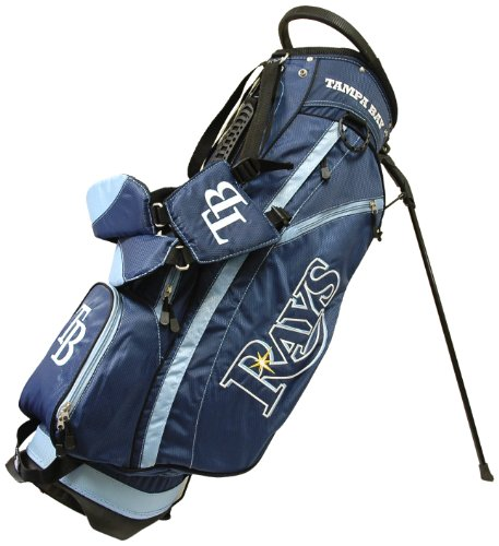 Team Golf MLB Tampa Bay Rays Fairway Golf Stand Bag, Lightweight, 14-way Top, Spring Action Stand, Insulated Cooler Pocket, Padded Strap, Umbrella Holder & Removable Rain Hood